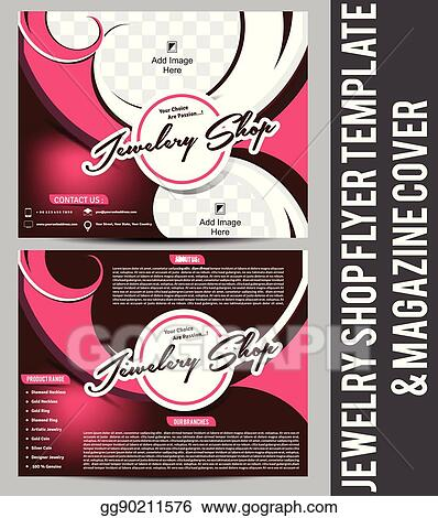Vector Illustration - Jewellery shop flyer template  magazine cover
