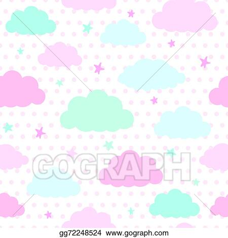 Vector Stock - Kids background with clouds and stars Clipart