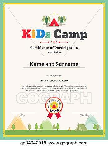 Vector Art - Kids certificate template in vector for camping
