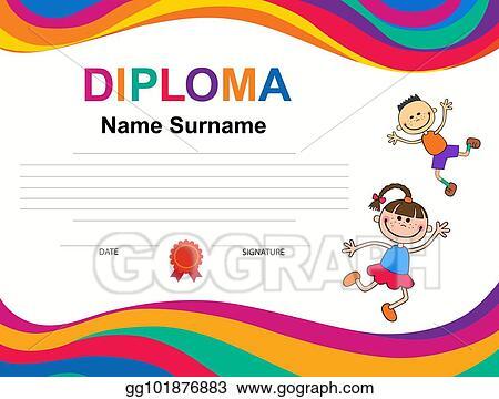 Vector Illustration - Kids diploma certificate background design