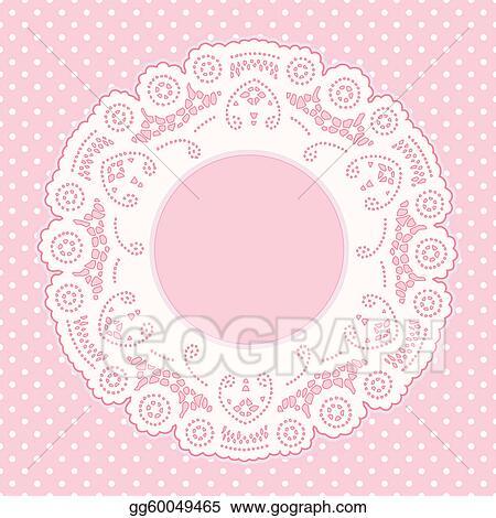 Clip Art Vector - Lace frame, polka dot background Stock EPS
