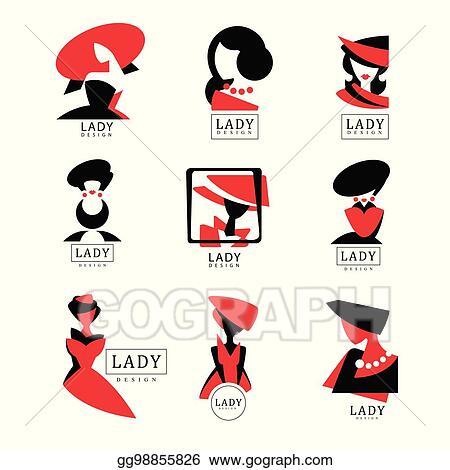 EPS Vector - Lady logo design set, vector illustrations for fashion