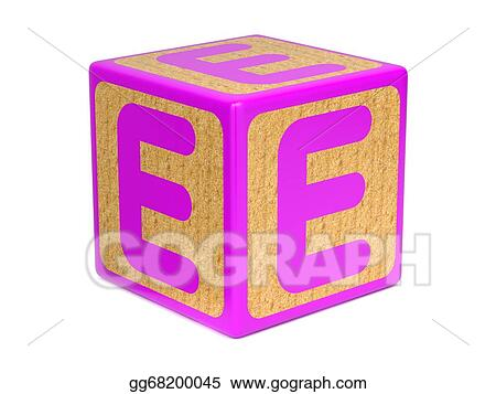 Stock Illustration - Letter e on childrens alphabet block Clip Art
