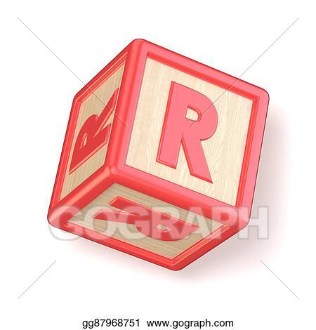 Stock Illustration - Letter r wooden alphabet blocks font rotated