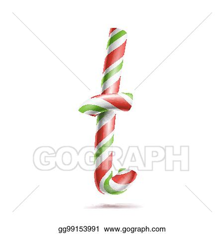 Vector Illustration - Letter t vector 3d realistic candy cane