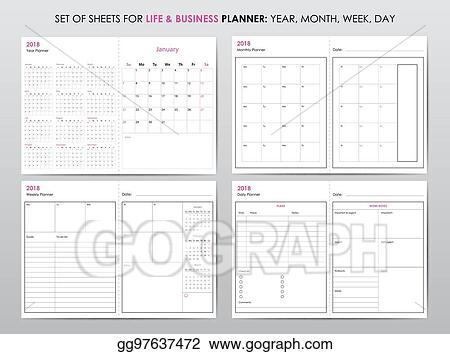 Vector Illustration - Life planner 2018 EPS Clipart gg97637472