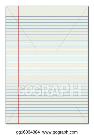 Stock Illustration - Lined paper red margin Clipart Drawing - line paper