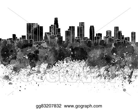 Stock Illustrations - Los angeles skyline in black watercolor on