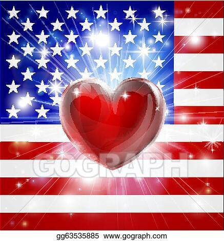 EPS Illustration - Love america flag heart background Vector