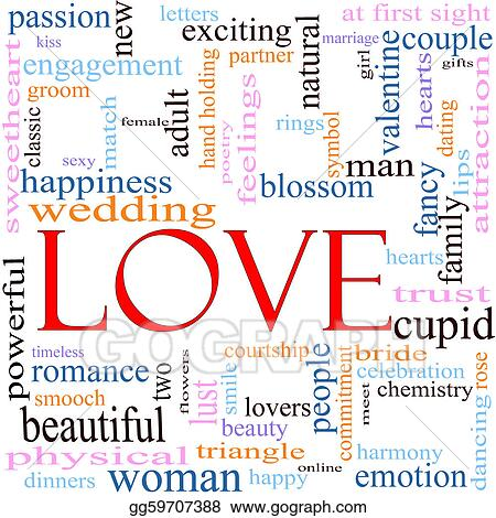 Stock Illustration - Love word cloud concept Clipart Illustrations