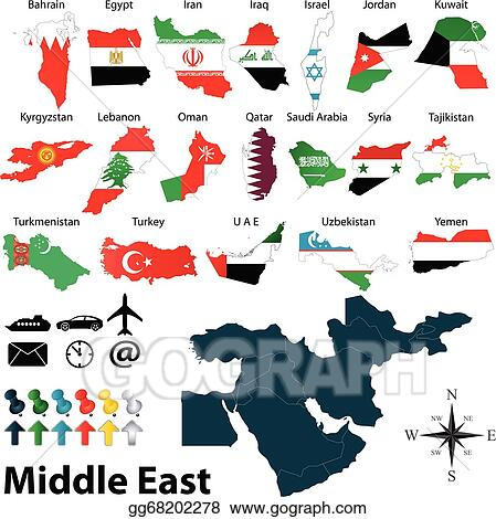 Vector Illustration - Maps of middle east Stock Clip Art gg68202278