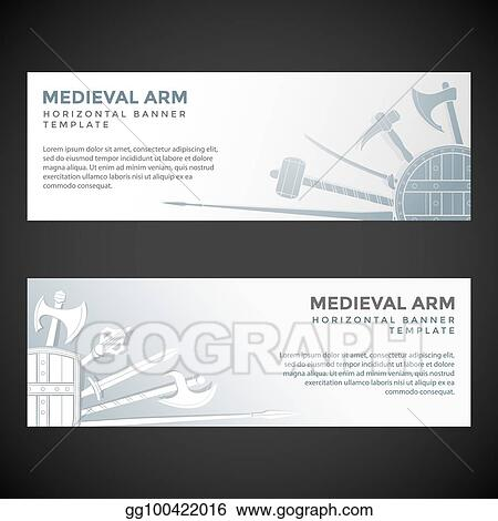 EPS Vector - Medieval cold steel arms banners Stock Clipart