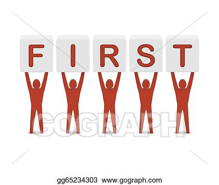 Clipart - Men holding the word first concept 3d illustration Stock