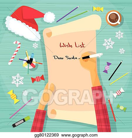 Clip Art Vector - Merry christmas wish list to santa clause child - christmas wish list paper