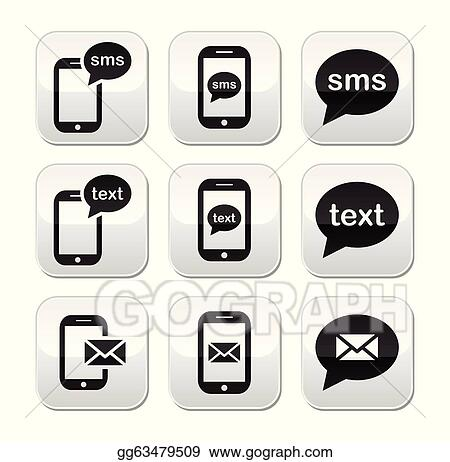 Vector Art - Mobile sms text message mail button Clipart Drawing - cool text message art