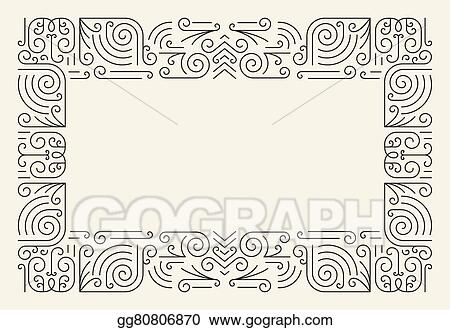 Vector Stock - Mono line frame simple certificate border Clipart