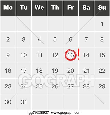 Vector Art - Month calendar monday to sunday with red marked friday