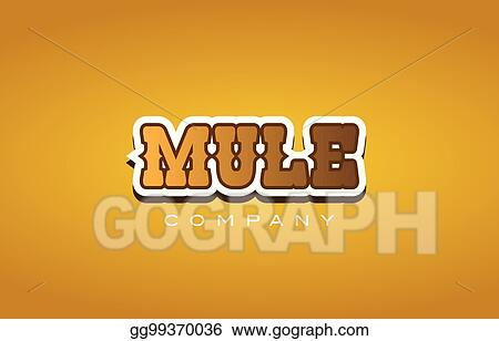 Vector Stock - Mule western style word text logo design icon company
