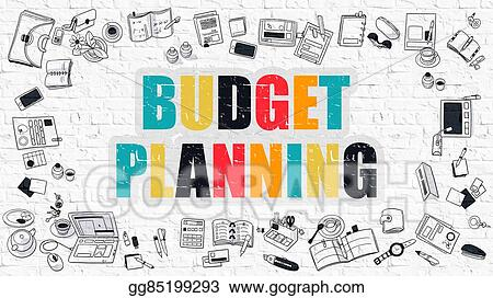 Stock Illustration - Multicolor budget planning on white brickwall