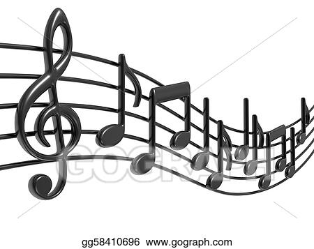 Drawings - Music notes on staves Stock Illustration gg58410696