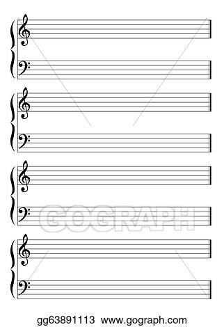 Vector Illustration - Musical staff and staves Stock Clip Art