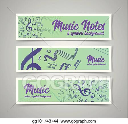 Vector Clipart - Musical staves vector illustration with music notes