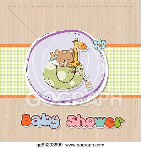Vector Art - New baby announcement card with bag and same toys