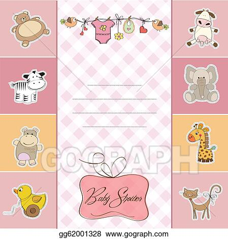 Vector Art - New baby girl announcement card Clipart Drawing