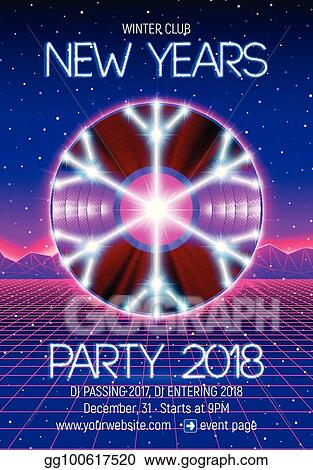 EPS Vector - New years party invitation poster or flyer with 80s