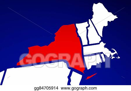 Stock Illustration - New york ny state united states of america 3d