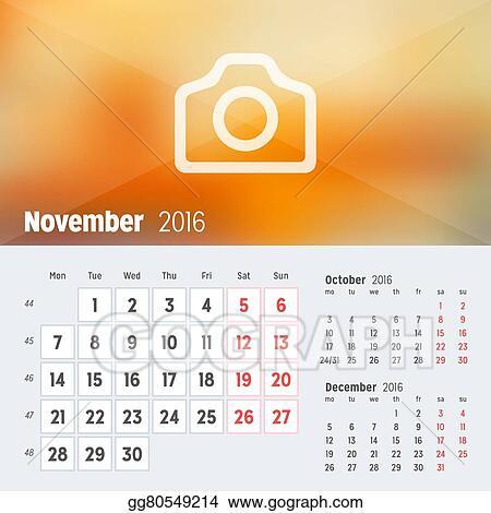 Vector Illustration - November 2016 desk calendar for 2016 year