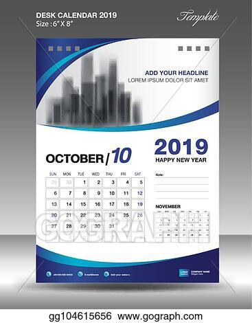 Vector Stock - October desk calendar 2019 template flyer design