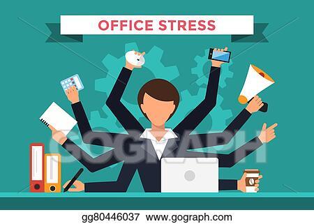 Vector Art - Office job stress work vector illustration EPS clipart