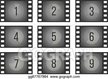 Vector Art - Old cinema film countdown movie frames with numbers
