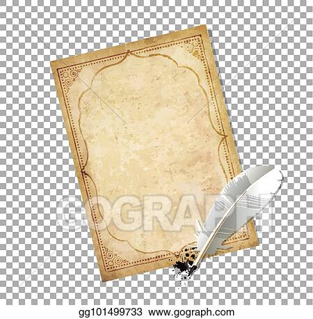 EPS Vector - Old fashioned letter paper with feather pen and ink