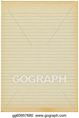 Stock Photography - Old yellowing lined blank a4 paper isolated