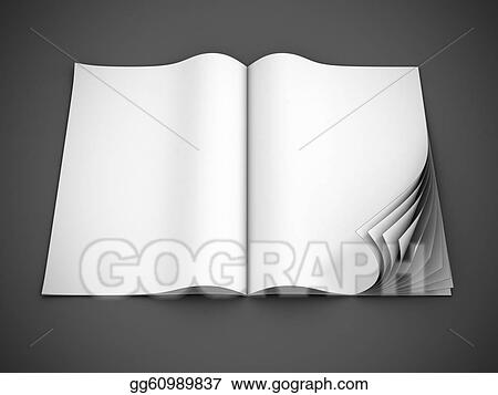 Stock Illustrations - Open blank magazine with curl pages Stock - Culring Pajis