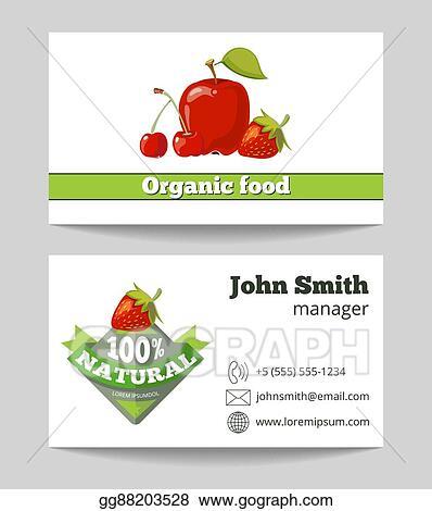Vector Art - Organic food shop business card template EPS clipart