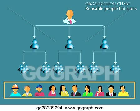 EPS Vector - Organization hierarchy flow Stock Clipart Illustration