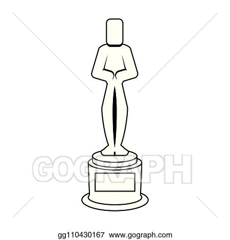 Vector Stock - Oscar award trophy black and white Clipart