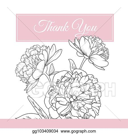 Vector Illustration - Peony rose flowers bouquet thank you card