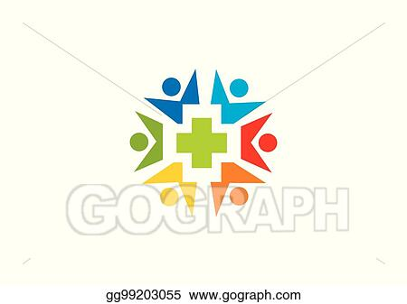 EPS Illustration - People circle medic health vector logo Vector
