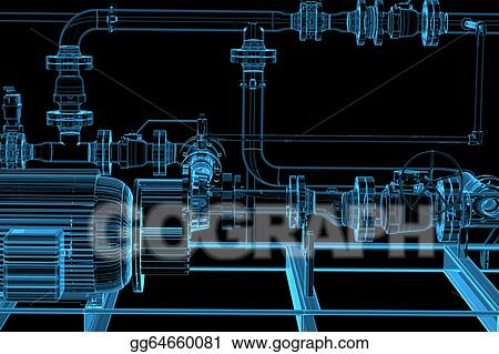 Drawing - Piping (3d xray blue transparent) Clipart Drawing