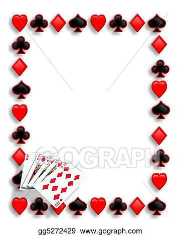 Stock Illustration - Playing cards poker border royal flush Clip - frame for cards