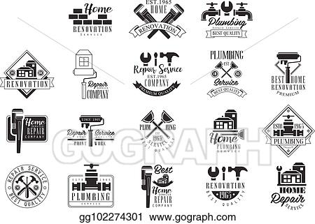 Vector Illustration - Plumbing and repairing service black and white