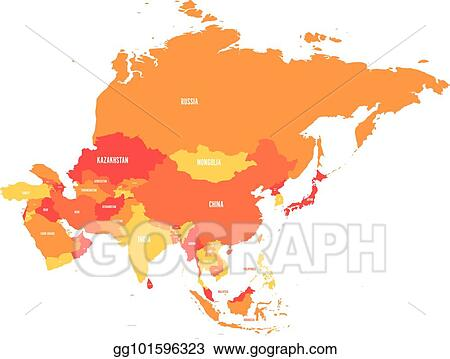 Vector Illustration - Political map of asia continent in shades of