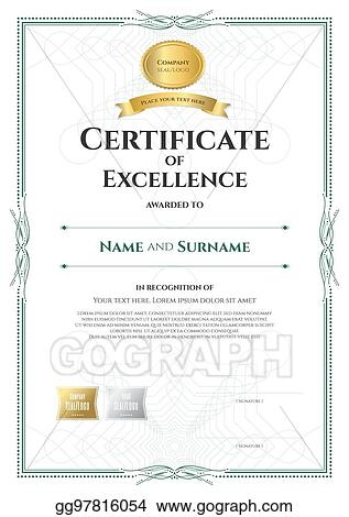 Vector Stock - Portrait certificate of excellence template with
