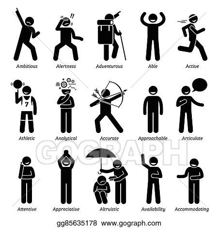 Clip Art Vector - Positive character traits with a Stock EPS