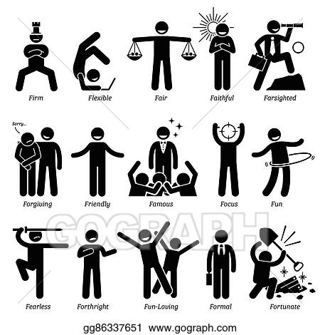 Vector Art - Positive character traits Clipart Drawing gg86337651