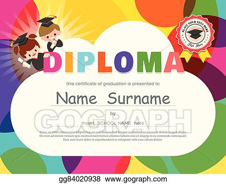 Vector Illustration - Preschool elementary school kids diploma